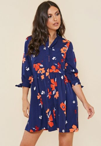 NAVY FLORAL BUTTON DOWN 3/4 SLEEVE SHIRT DRESS SIZES UK 8, 10, 12, 14